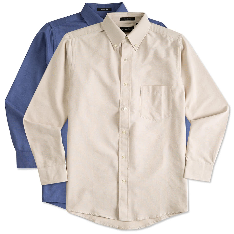 Custom ultra club wrinkle free oxford dress shirt design for Wrinkle free button down shirts