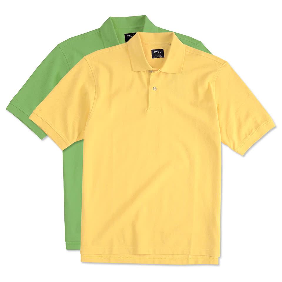 Design custom embroidered izod silkwash pique polo online for Custom embroidered polo shirts no minimum