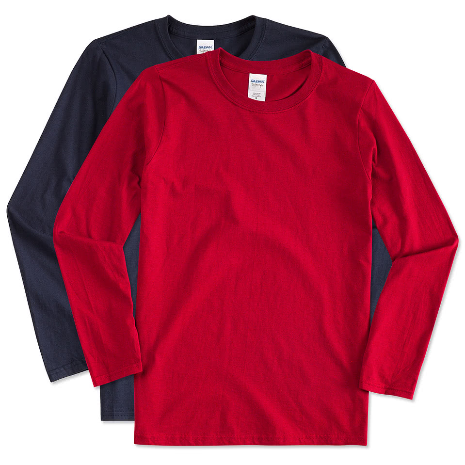 Custom canada gildan softstyle long sleeve jersey t for Long sleeve custom t shirts