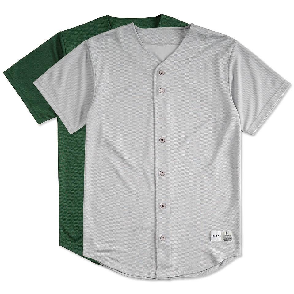 Custom Sport Tek Tough Mesh Full Button Baseball Jersey