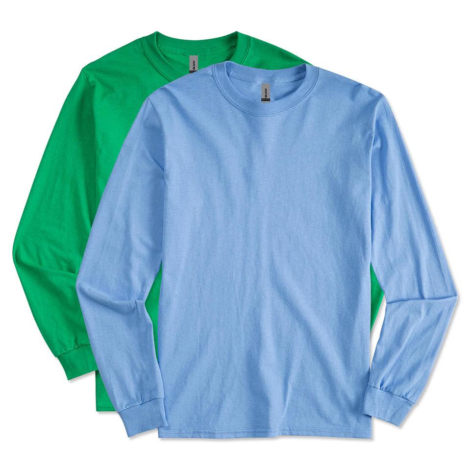 Custom gildan 100 cotton long sleeve t shirt design for Long sleeve cotton tee shirts