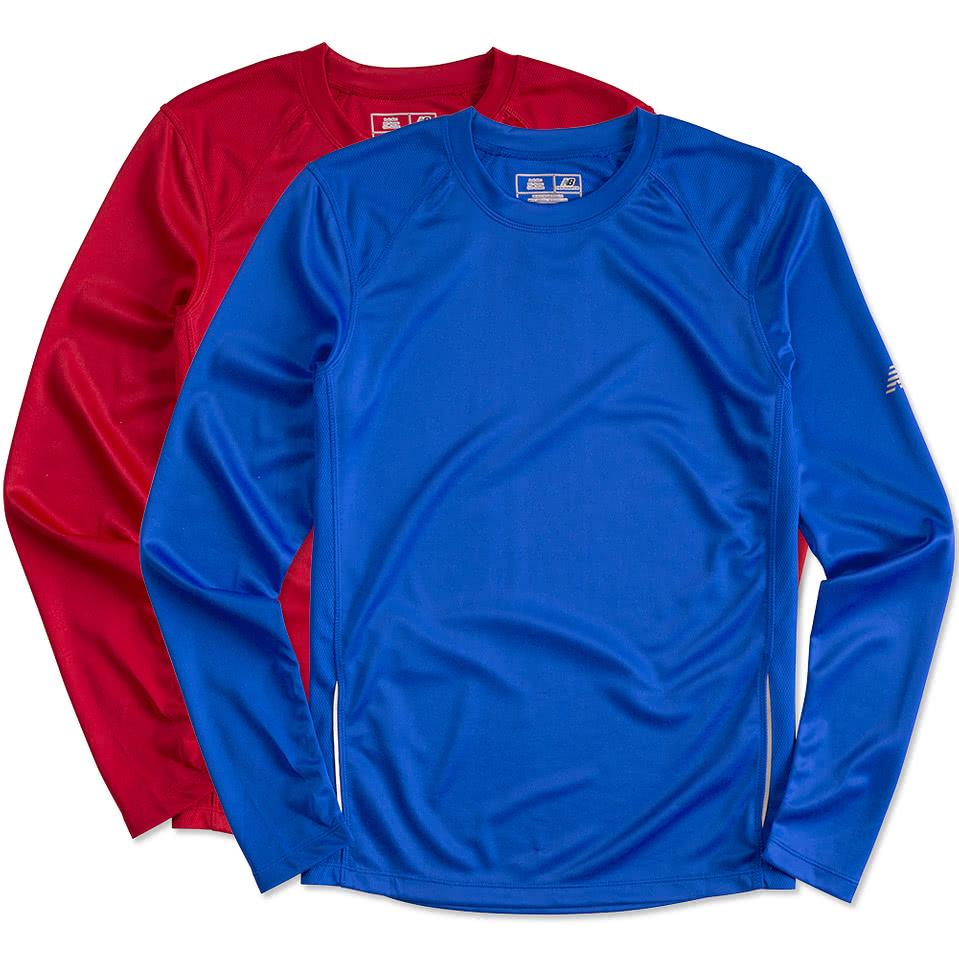 Custom canada new balance tempo long sleeve performance for Custom t shirts canada no minimum