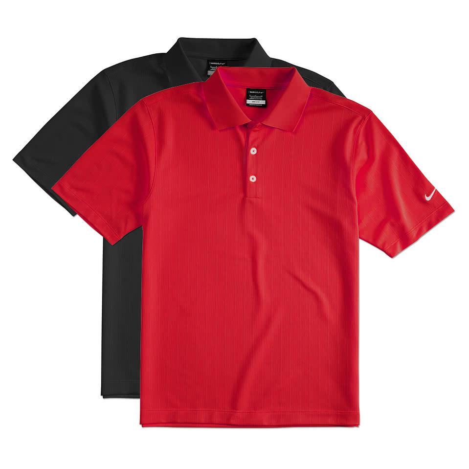 Design custom embroidered nike golf dri fit textured for Embroidered nike golf shirts