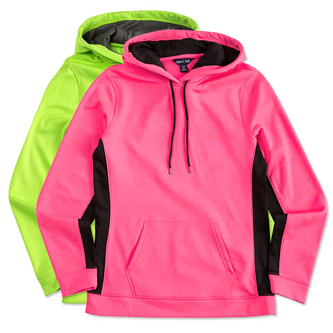 Sport-Tek Ladies Colorblock Performance Hooded Sweatshirt