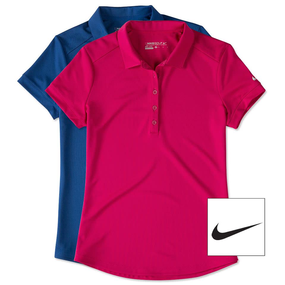 Design custom embroidered nike golf ladies dri fit smooth for Embroidered nike golf shirts