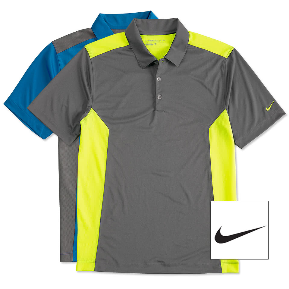 Design custom embroidered nike golf dri fit mesh for Custom logo t shirts no minimum