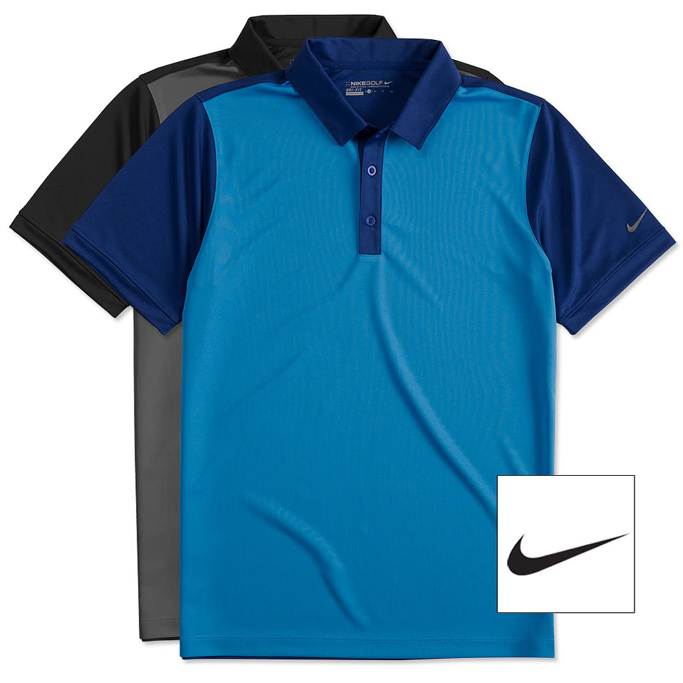 Design custom embroidered nike golf dri fit colorblock for Custom adidas dri fit shirts