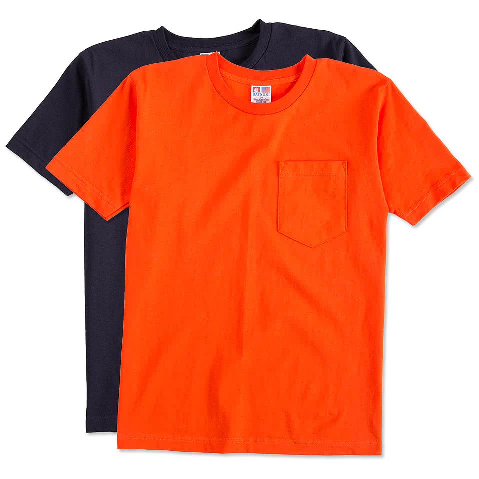 Custom bayside 100 cotton usa pocket t shirt design for Custom pocket t shirts