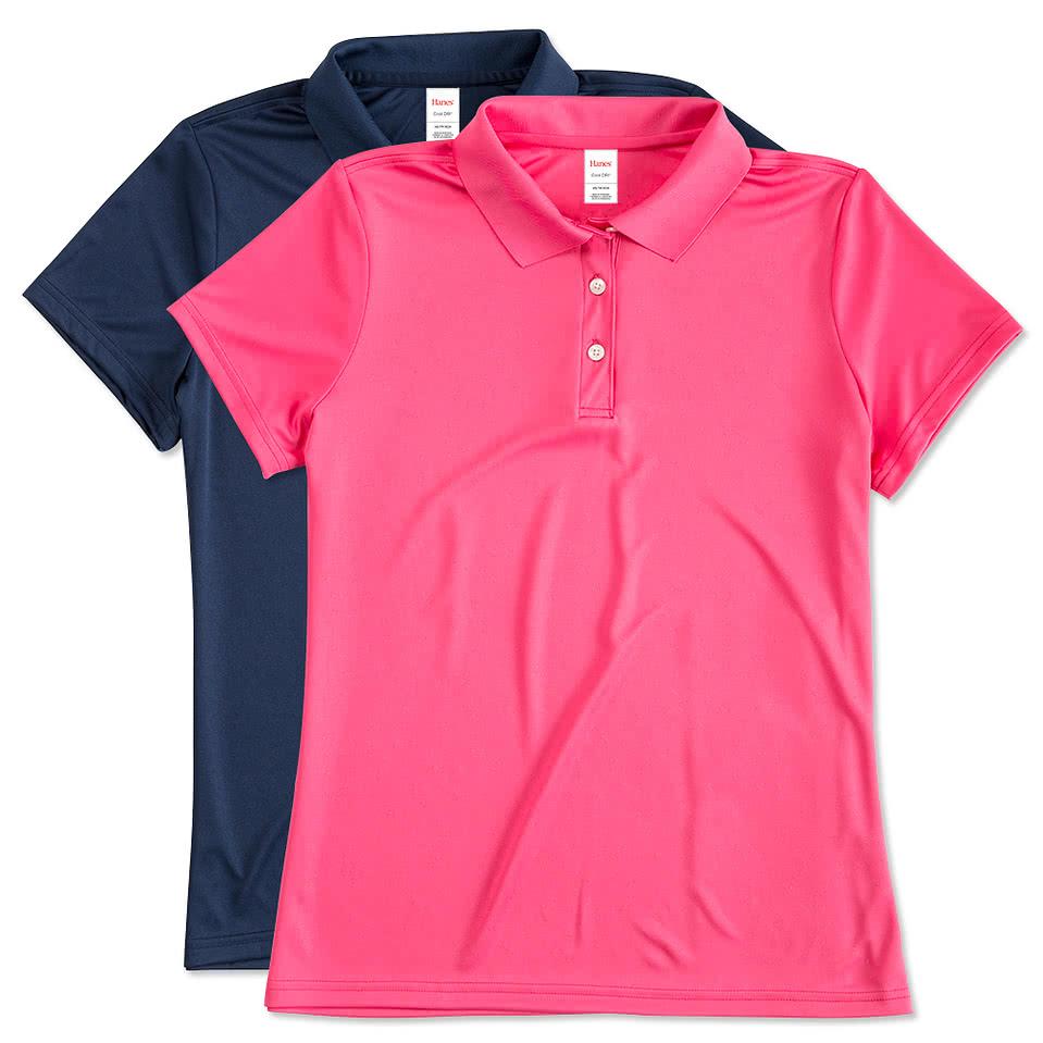Custom hanes ladies cool dri performance polo design for Design polo shirts online