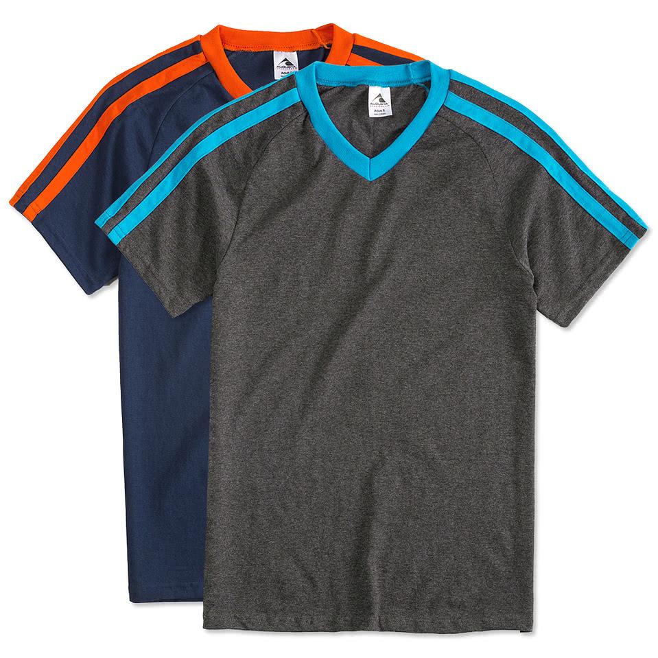 Design your own t shirt virtual - Augusta Shoulder Stripe Jersey T Shirt