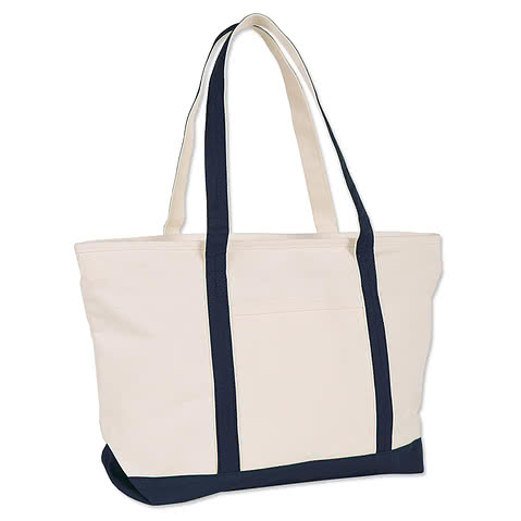 Large Heavyweight Cotton Zippered Boat Tote