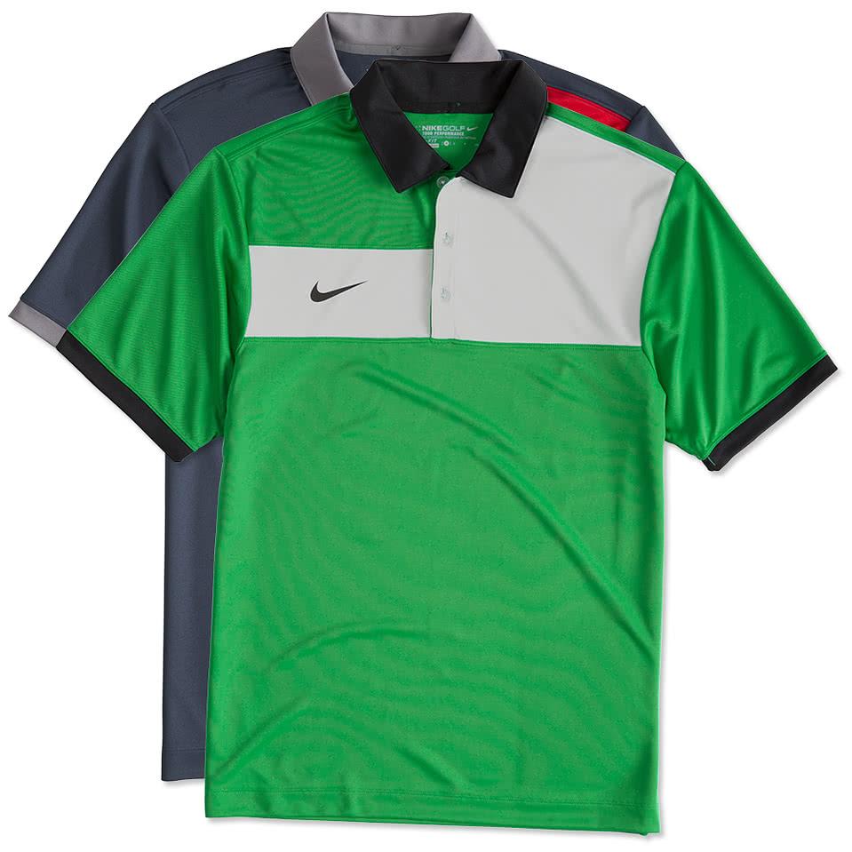 Custom nike golf dri fit sport colorblock polo design for Design polo shirts online