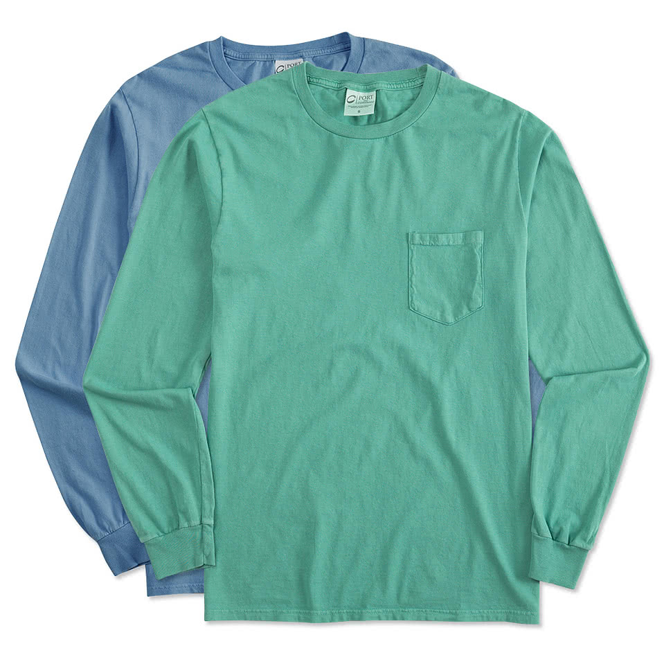 Custom Port and Company Pigment Dyed Long Sleeve Pocket T-shirt ...