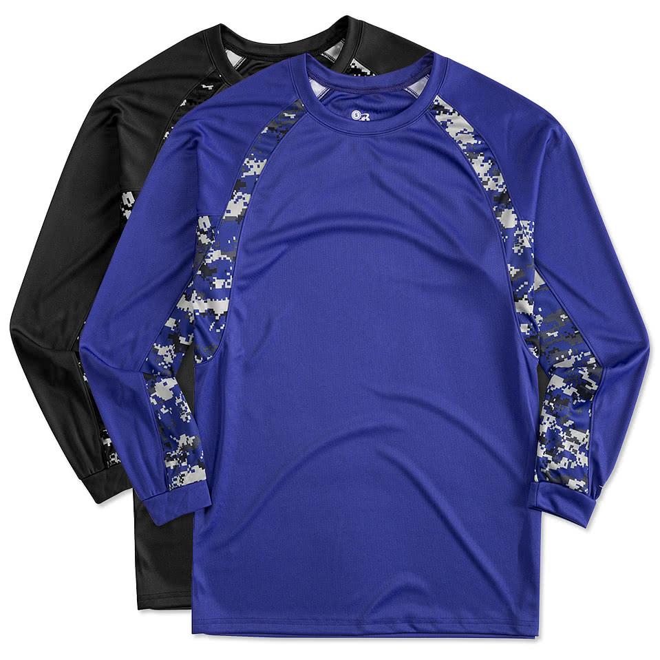 Custom badger digital camo long sleeve performance shirt for Custom t shirts canada no minimum