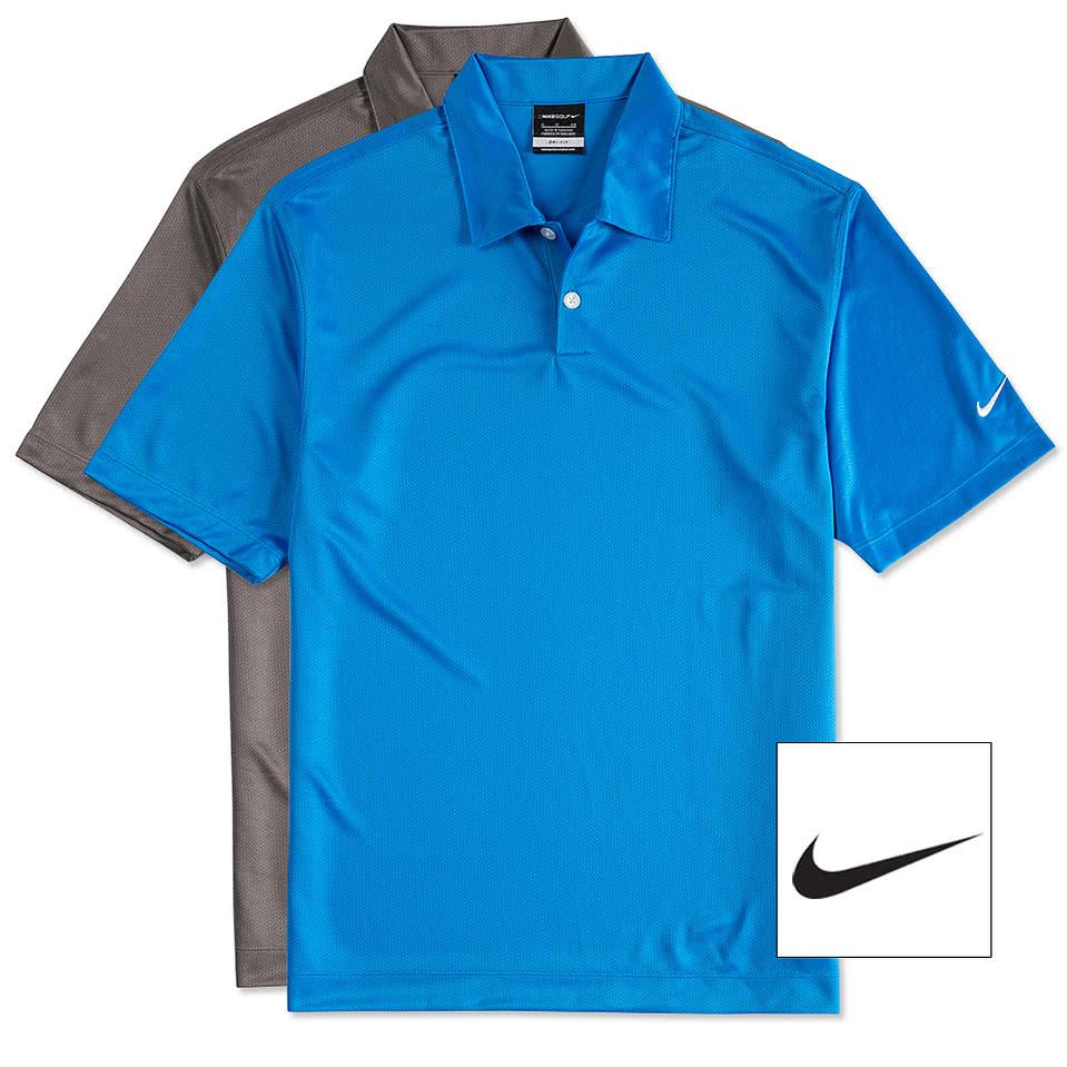 Design custom embroidered nike golf pebble textured for Embroidered nike golf shirts
