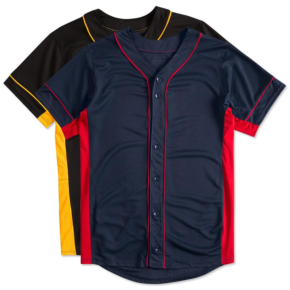 Design custom printed augusta slugger full button baseball for Custom baseball shirts no minimum