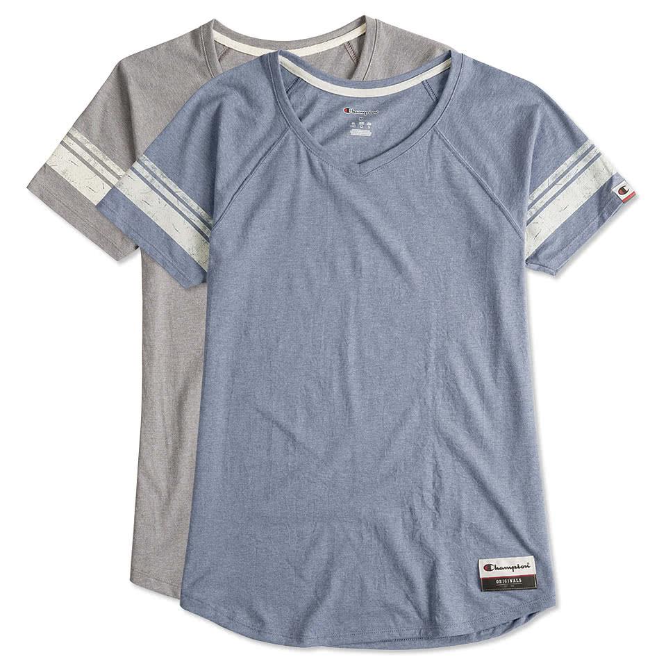 Custom champion authentic ladies tri blend varsity t shirt for Custom t shirts online