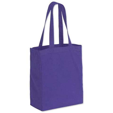 Medium Gusseted Midweight 100% Cotton Canvas Tote Bag