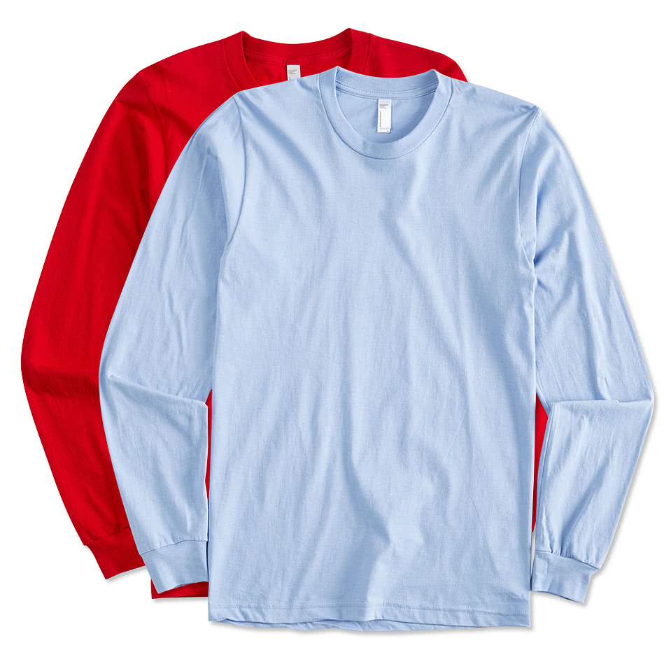 Design custom printed american apparel long sleeve t for Personalized long sleeve t shirts