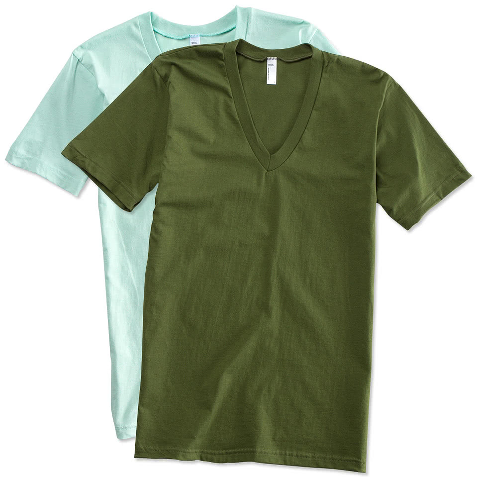 Design custom printed american apparel jersey v neck t for Custom t shirts canada no minimum