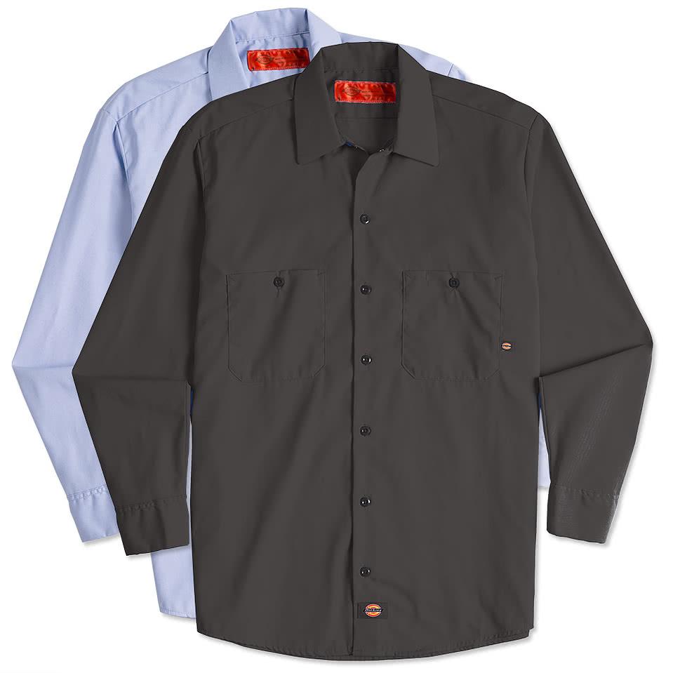 Custom dickies lightweight industrial long sleeve work for Design a work shirt