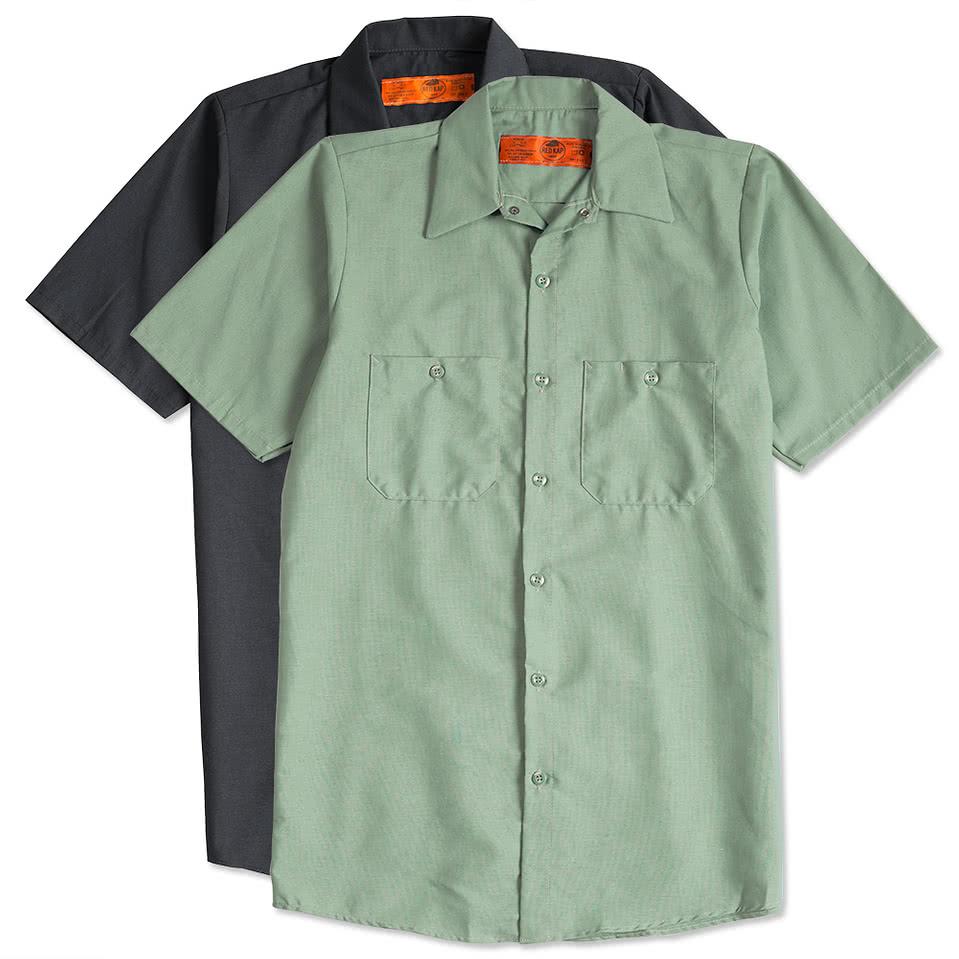 Design custom printed red kap industrial work shirts for Design a work shirt