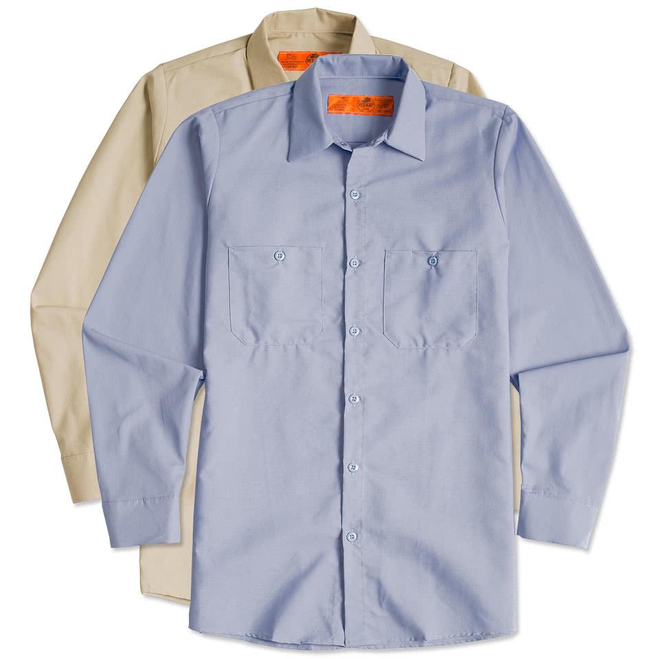 Design custom printed red kap long sleeve industrial work for Make custom shirts online