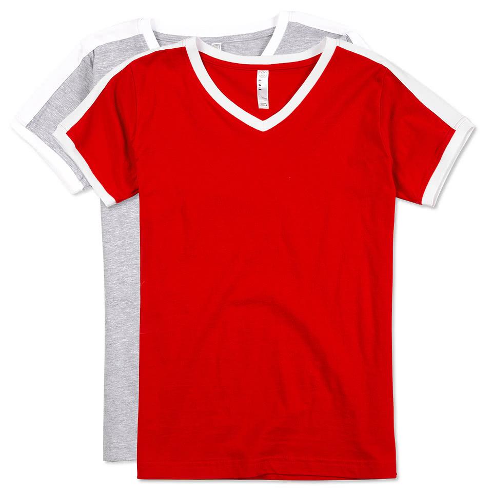 Custom lat ladies soccer v neck t shirt design ladies for Custom t shirts canada no minimum