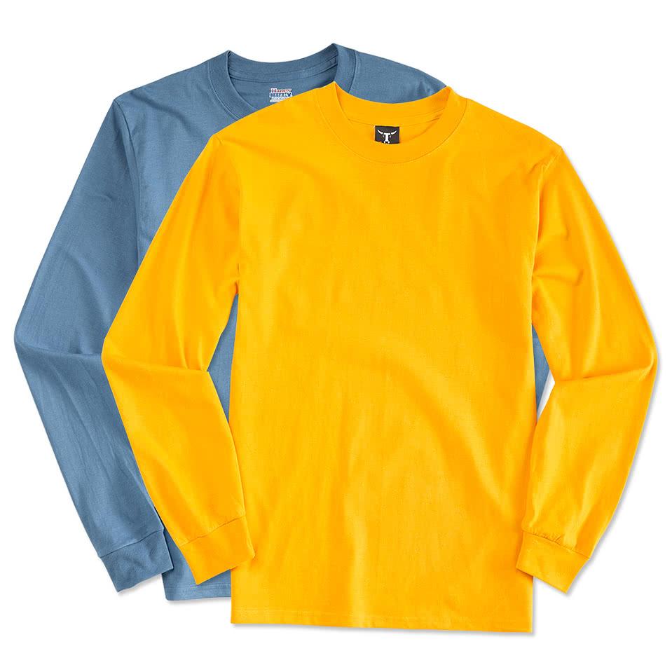 design custom printed hanes beefy t long sleeve t shirts online at