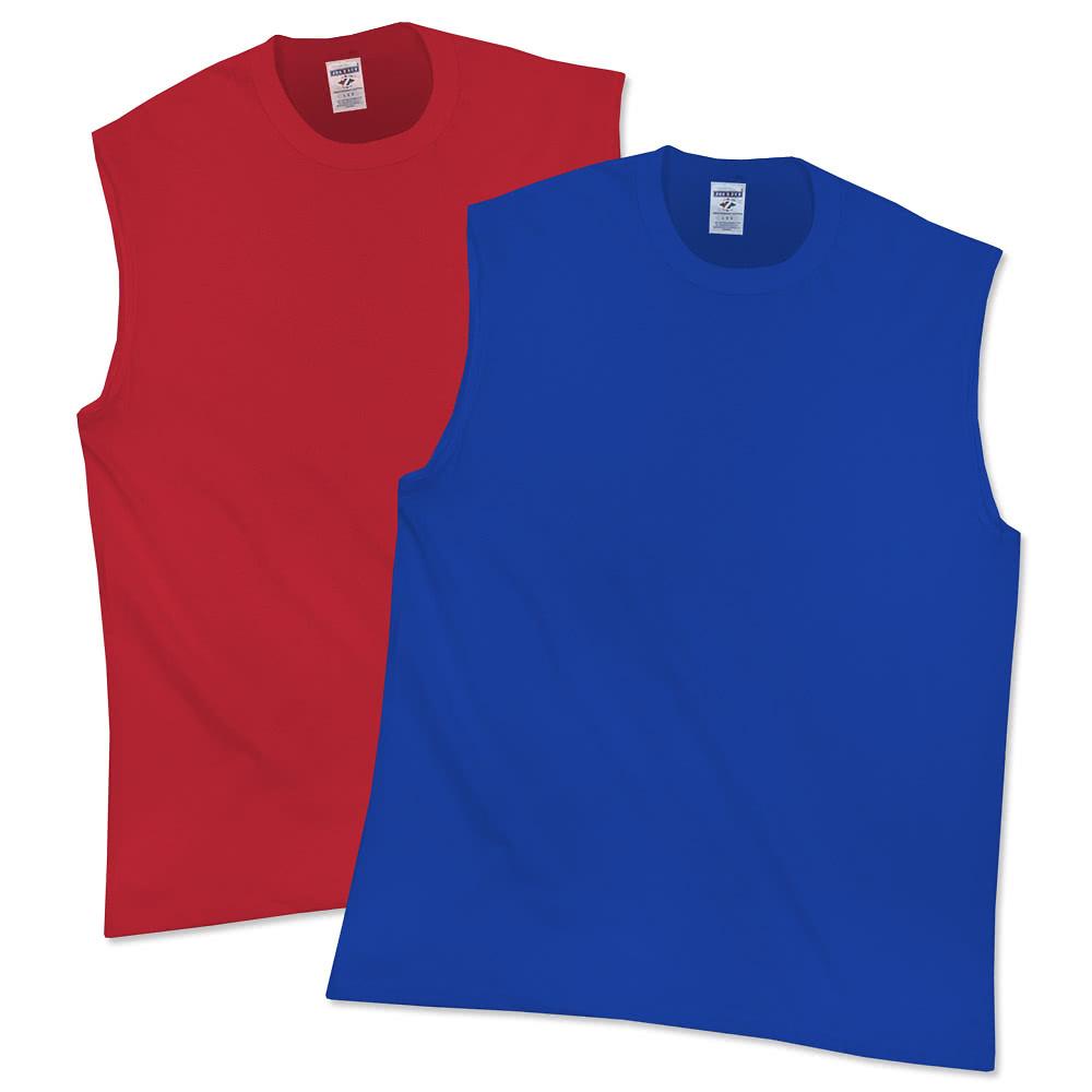 Design Custom Printed Jerzees Sleeveless T Shirts Online