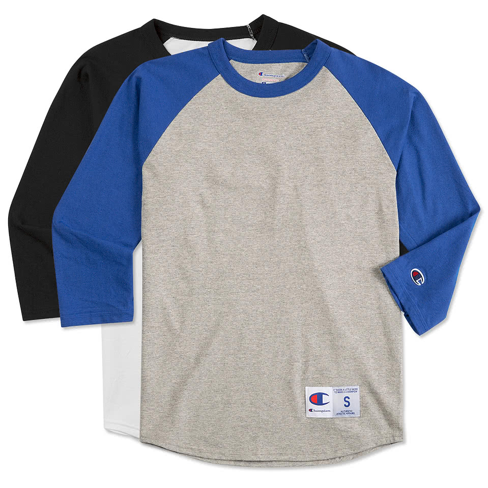 Design custom printed champion baseball raglan shirts for Custom logo t shirts no minimum
