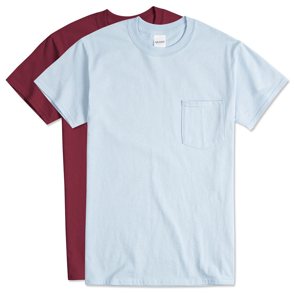 Design custom printed gildan ultra cotton pocket t shirts for T shirt printers online